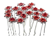 Aukmla Bridal Red Wedding Hair Pins for Women and Girls
