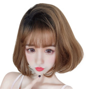 Remeehi Synthetic Bob Wig Cosplay Straight Hair Wigs for Black Women With Air Bangs Glueless Heat Resistant Wigs Ombre Black to Light Brown