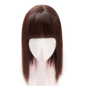 Remeehi 35cm Synthetic Seamless Hair Replacement Mono Hairpiece for Hair Loss Clip in Hair Topper with Flat Bangs Thin Dark Brown