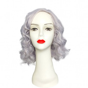 Shoulder Length Curly Wig By Namecute Heat Resistant Synthetic Light Purple Wigs for Women; Free Wig Cap