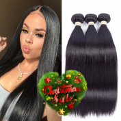 FASHION QUEEN Hair Brazilian Straight hair 3 Bundles, 7A Grade Unprocessed Virgin Human Hair Extensions, Natural Colour Mixed Length