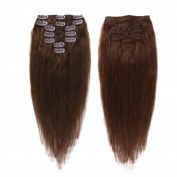 Creamily 41cm Clip In Remy Human Hair Extensions #4 Brown Short Real Straight Hair Style for African American Women 7 Piece 65g