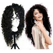Mufly Deep Curly Wig Lace Front Hair WIgs Black Long Wig for Women Synthetic Hair Wig Heat Resistent Synthetic Afro Kinky Curly Wig Natural Looking