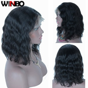 WINBOWIG Brazilian Virgin Human Hair Lace Front Wigs Glueless Short Bob Human Hair Wigs Wavy With Baby Hair For Black Women Short Wavy Lace Wigs