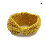 Landslide Girls Yellow Sport Knitted Hair Band Headband Stretch Bowknot Hairband Accessory Sport