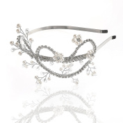 Handcess Wedding Headband Rhinestones Silver Hair Hoop Crown and Tiara for Women and Girls