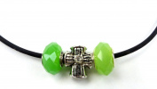 Beads Chain Charms Necklace Choker Handmade Silver Cross GRÜN3 1