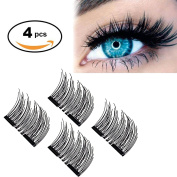 3D Dual Magnetic False Eyelashes (1 Pair 4 Pieces) by WEBSUN, 0.2mm Ultra-thin Reusable Double Magnetic Fake Eyelashes No Glue