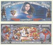 Novelty Dollar Super Girl Lovers Commemorative Million Dollar Bills x 4 Krypton Hero Superman