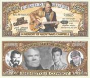 Novelty Dollar Glen Travis Campbell In Memory Of Rhinestone Cowboy Million Dollar Bills x 4