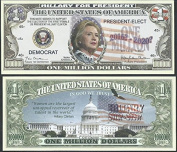 Lot of 100 Bills Hillary Rodham Clinton for President 2016 Million Dollar Bill by Novelty Notes by Novelty Notes