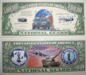 US National Guard Million Dollar Bill In Top Quality Currency Holder by American Art Classics