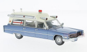 NEO SCALE MODELS NEO49545 CADILLAC S & S MET.BLUE/WHITE AMBULANCE 1966 1:43 MODEL