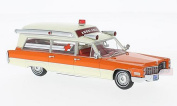 NEO SCALE MODELS NEO49539 CADILLAC S & S WHITE/ORANGE AMBULANCE 1966 1:43 DIE CAST
