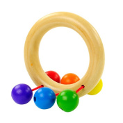 Sunwords 1Pc Cute Baby Kids Colourful Wooden Educational Grasping Rattle Handbell Toy - Randon