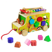 Wooden Bus Pull Toy Wooden Shape Sorter Bus Colourful Xylophone 8 Tones for Baby Learning Music