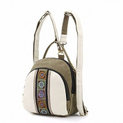Autumn winter new style college wind embroidered canvas bag women schoolgirl Backpack,Rice white