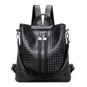 Domybest Women Girls PU Leather Backpack Weave Rucksack Large Capacity Travel Shoulder Bag Schoolbag