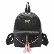 Domybest Women PU Leather Mini Backpacks Tassel Bowknot Rucksack Teenage Girl Leisure Small Shoulder Bags Bookbag