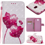 Samsung Galaxy J7 2017 Case, BONROY Premium Fashion colourful painting pattern PU Leather Wallet Flip Case Cover with [Credit Card Slots] [Magnetic Closure] and Stand Function Bumper Protective Cover For Samsung Galaxy J7 2017 J730 (EU Version) - Red Rose