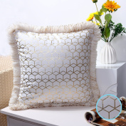 Valery Madelyn Luxury Collection White Gold Beige Christmas Cushion Cover Decorative Geometry Velvet Throw Pillowcase with Faux Fur Border Trim (45x45cm), Themed with Tree Skirt