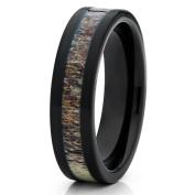 6mm Black Tungsten Carbide Wedding Ring Deer Antler Insert Unique Comfort Fit Mens Womens Band 7