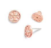 Tory Burch Circle Logo Stud Earrings 16k Rose Gold on Card with Dust Cover