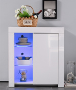 UEnjoy High Gloss Sideboard Storage Cabinet with RGB LED Lighting Living Room Dining Room Furniture Cupboard in White Matt
