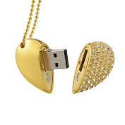 MAXINDA Crystal Heart USB Flash Drive 2.0 Memory Stick with Necklace for Gifts