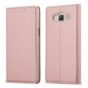 Cadorabo – Metallic Look Book Style Wallet Case for _ Samsung Galaxy A3 (5) - Model 2015 _ with invisible Magnetic Closure – Etui Case Cover Protection in CLASSY-ROSÉ-GOLD