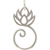 Lotus Flower Charm Holder or Pendant in Sterling Silver, #8437
