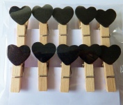 20Pcs Mini Wooden Pegs Black Hearts, Photo Clips, Wedding Decor, Craft 35mm