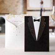 50X WISHMADE Wedding Invitations Cards Kits With Engagement Black & White Evening Dress Cardstock for Marriage Wedding Bride Shower Invites Favours Envelopes and Seals CW2011