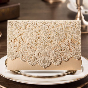 Wishmade 50X Horizontal Laser Cut Wedding Invitations Cards Kits Packs of 50PCS with Gold Hollow Flora Favours Pearl Paper Cardstock CW072