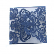 Luxury DIY Laser Cut Navy Blue Lacy Floral Wedding Invitation Invite Card, Cover Only