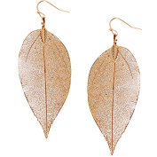 Humble Chic Women's Gold-Tone Dipped Leaf Earrings Rose Gold-Tone Lightweight Cutout Dangles, Rose G