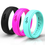 Women's Silicone Ring | Wedding Band - 3 Silicone Rings Pack - Premium Quality Silicone Rubber Bands. Comes With a Gift - Designed Gift Package!