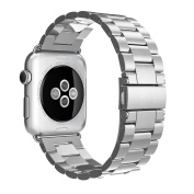 Luxury Premium Solid Stainless Steel Butterfly Buckle Bracelet Watch Band with Adapter for 42mm Apple Watch Series 1 and 2