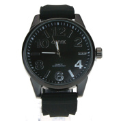 Mens Simple Minimal Silicone Band Modern Round Analogue Wrist Watch All Black