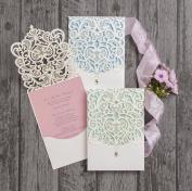 Singular Luxury Diamante Lace Laser Cut Pocketfold Printed Wedding Invitation