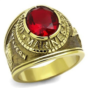 Men's Gold USMC Marine Corps Stainless Steel, Red Siam CZ Ring, Sizes 8-14