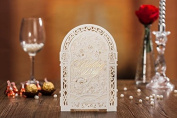 10 X 3D Laser Cut Folding Screen Style Romantic Wedding Invitation Cards in Ivory Colour, FREE matching envelop, blank insert card and seal