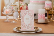 10 X Laser Cut Romantic Pink Lace Wedding Invitation Cards, FREE matching envelop, blank insert card and seal
