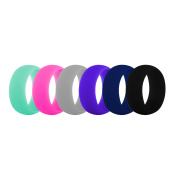 (Price/6 Pcs) GOGO Premium Women's Silicone Wedding Rings - 9 mm Wide(2 mm Thick) Flexible Wedding Bands - Assorted-11