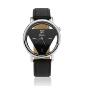 Luxury Fashion Womens Mens Stainless Steel Faux Leather Band Quartz Analogue Sport Wrist Watch