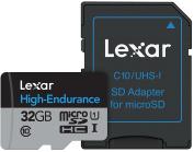 Lexar High-Endurance microSDHC/microSDXC 32 GB UHS-I Cards