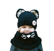 Hosaire Winter Baby Kids Girls Boys Warm Woollen Coif Hood Scarf Caps Hats Plush Beanie Cute Cat Hat Scarf Sets