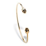 Twin Skulls Open Cuff Bangle Bracelet 14k Gold-Plated 19cm