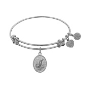 Angelica Collection Non-Antique White Brass Initial J Letter Bangle Bracelet
