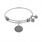 Angelica Brass You Only Live Once Bangle Charm Bracelet